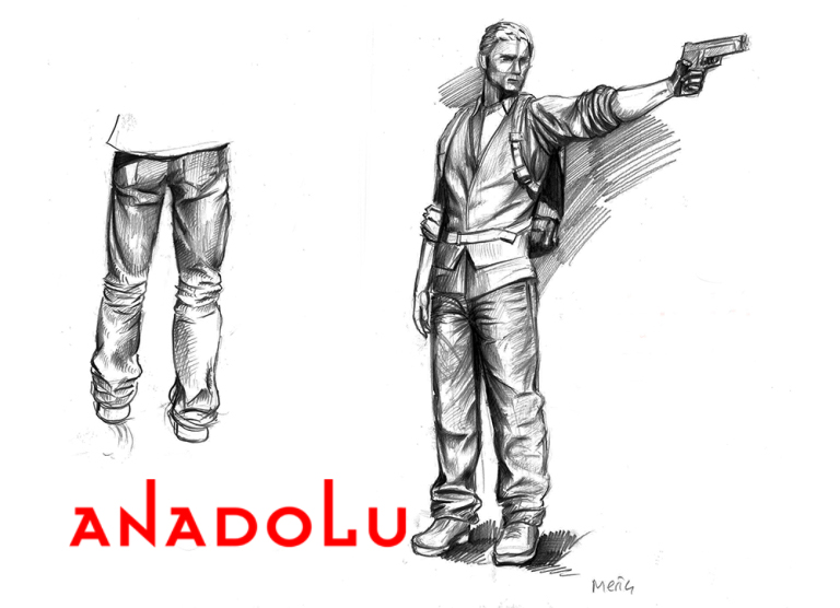 Karakalem Silahlı Atış Yapan İnsan Çizimleri Çukurovada